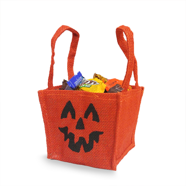 Jute Jack O Lantern Bag with Handles - Small 4in