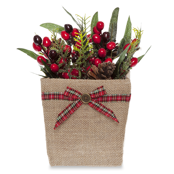 Natural Jute Utility Bag with Holiday Plaid Bow - Medium 5in