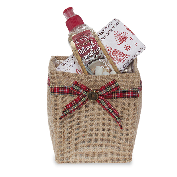 Natural Jute Utility Bag with Holiday Plaid Bow - Small 4in