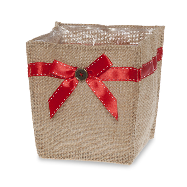 Natural Jute Utility Bag with Red Bow - Medium 5in