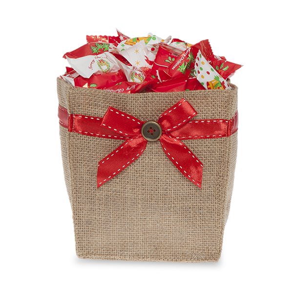 Natural Jute Utility Bag with Red Bow - Small 5in