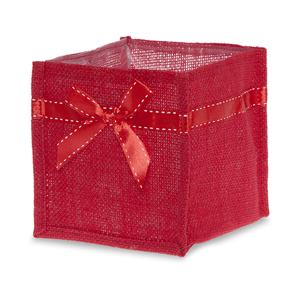 Red Jute Square Utility Bag with Red Bow - Small 5in