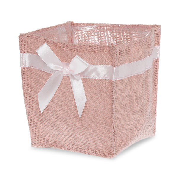 Pink Jute Square Utility Bag with Light Pink Bow - Small 5in