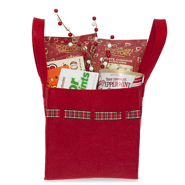 Red Square Felt Handle Bag with Holiday Plaid Trim - Med 8in