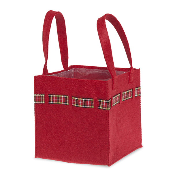 Red Square Felt Handle Bag with Holiday Plaid Trim - Sm 6in
