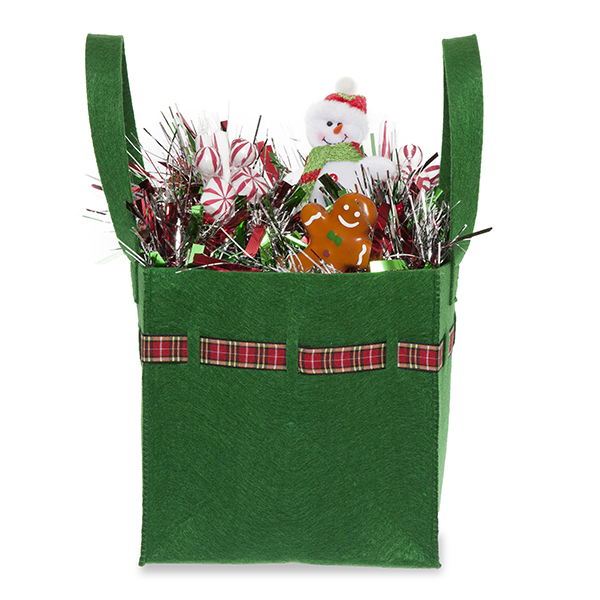 Green Square Felt Bag with Holiday Plaid Trim - Large 8in