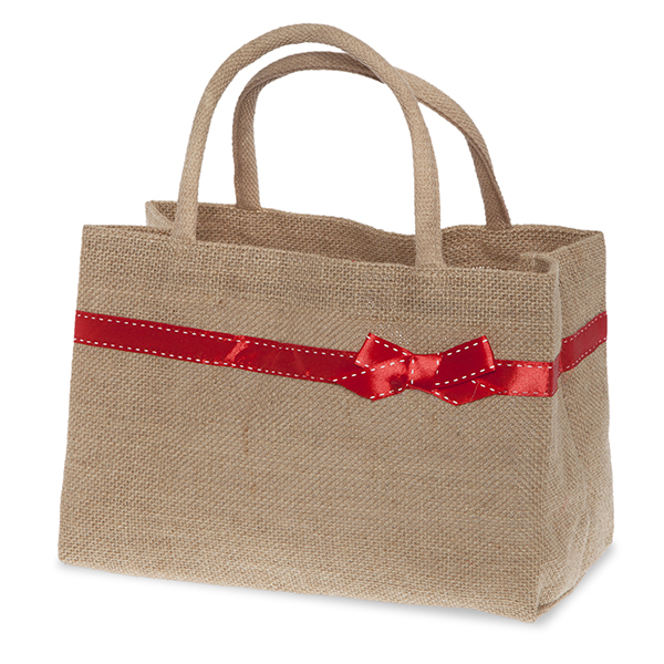 Natural Jute Handle Bag with Red Bow Trim 11in