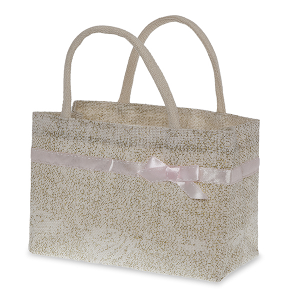 Ivory and Gold Jute Handle Bag with Pink Bow Trim 11in