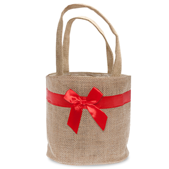 Natural Round Jute Handle Bag with Red Bow - Medium 6in