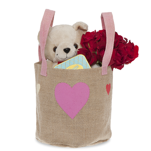 Natural Jute Round Handle Bag with Hearts - Medium 7in
