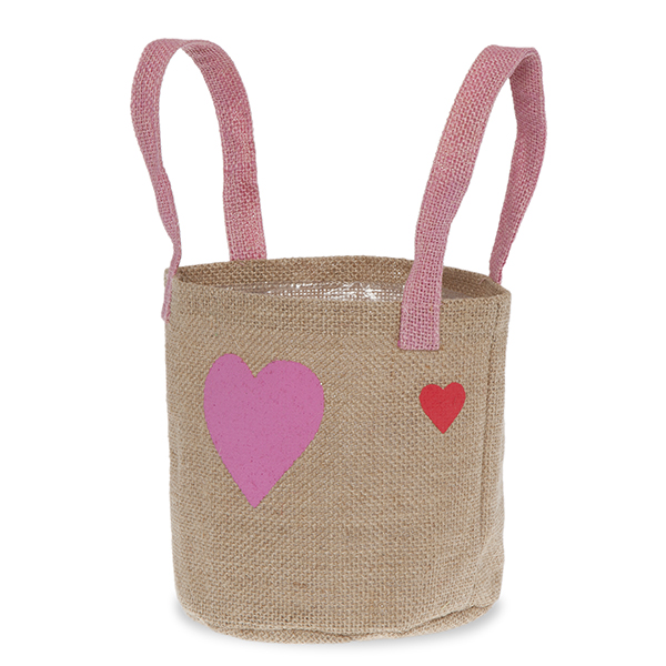 Natural Jute Round Handle Bag with Hearts - Small 5in