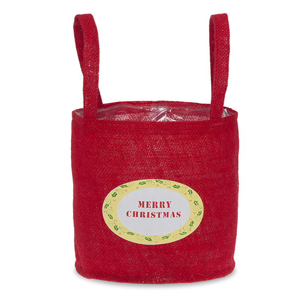 Red Round Jute Merry Christmas Handle Bag - Med 7in