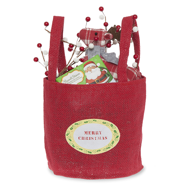 Red Round Jute Merry Christmas Handle Bag - Small 6in