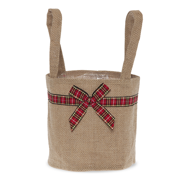 Natural Round Jute Handle Bag with Holiday Plaid Trim - Med 6in