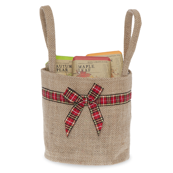 Natural Round Jute Handle Bag with Holiday Plaid Trim - Sm 5in