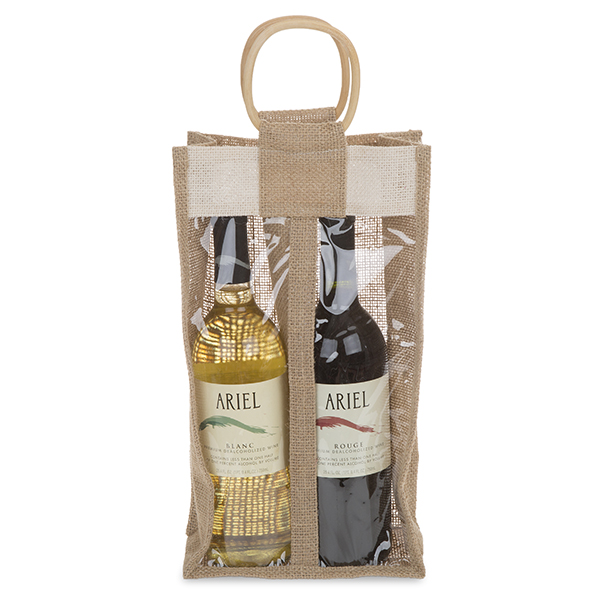 Jute Two Wine Handle Bag with Window 7in