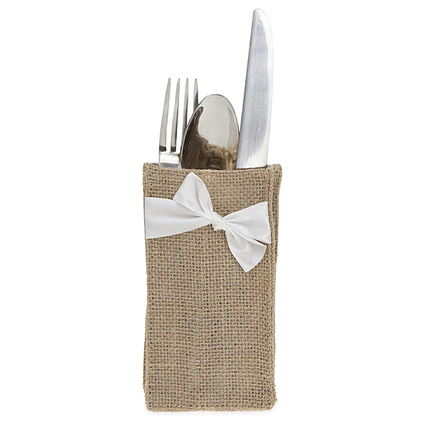 Jute Cutlery Bag with White Bow