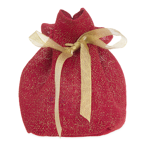 Burlap Sack with Drawstring - Red with Gold Ribbon
