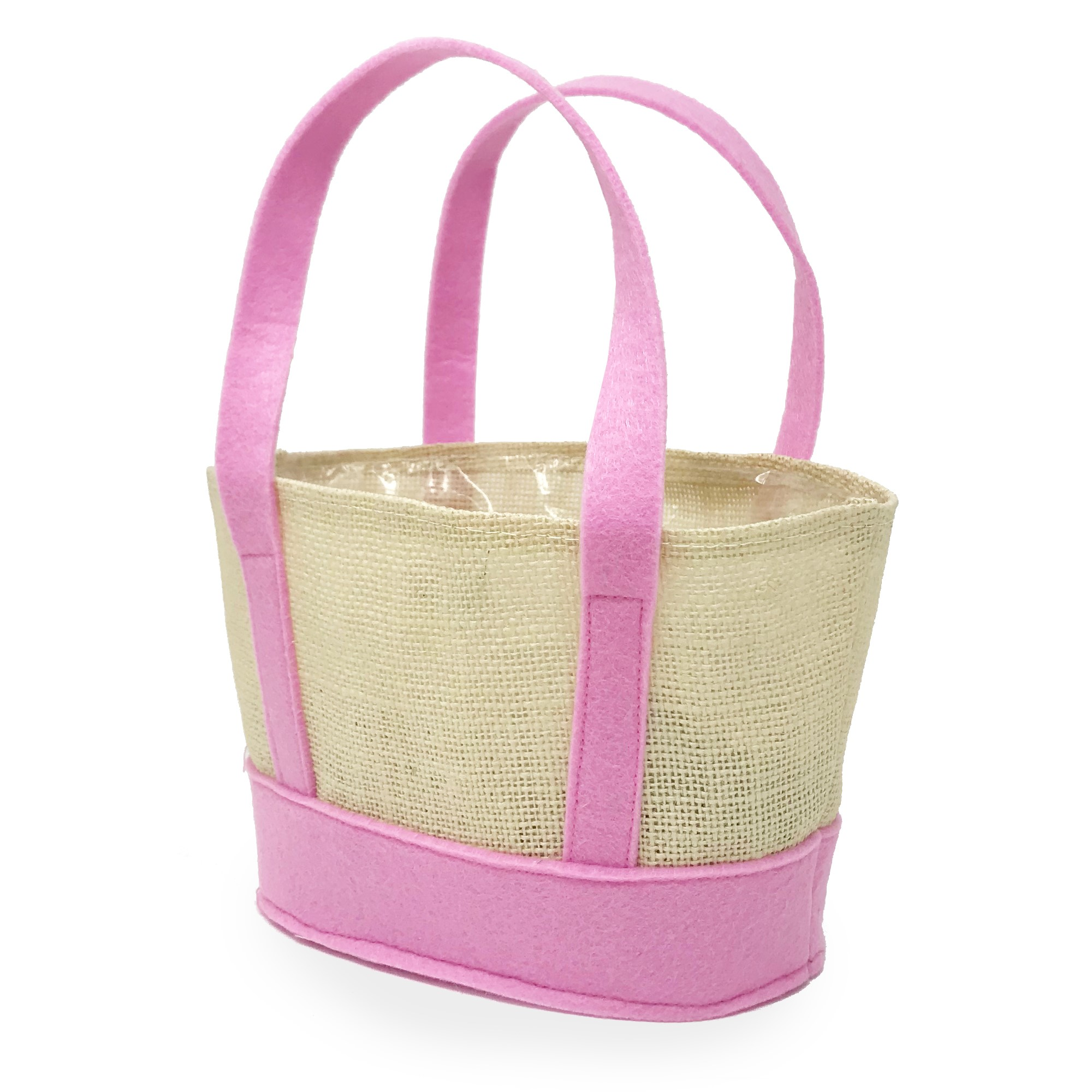 Jute Oval Basket with Pink Felt Base and Handles 9in