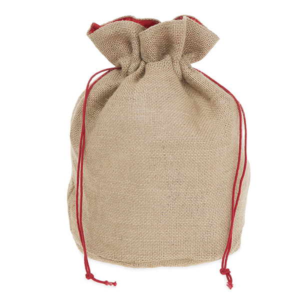 Burlap Sack with Drawstring Large - Solid Red Trim