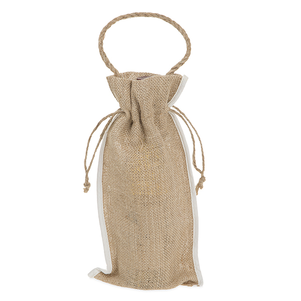 Burlap Wine Sack with Drawstring and Handle - White Trim at Side