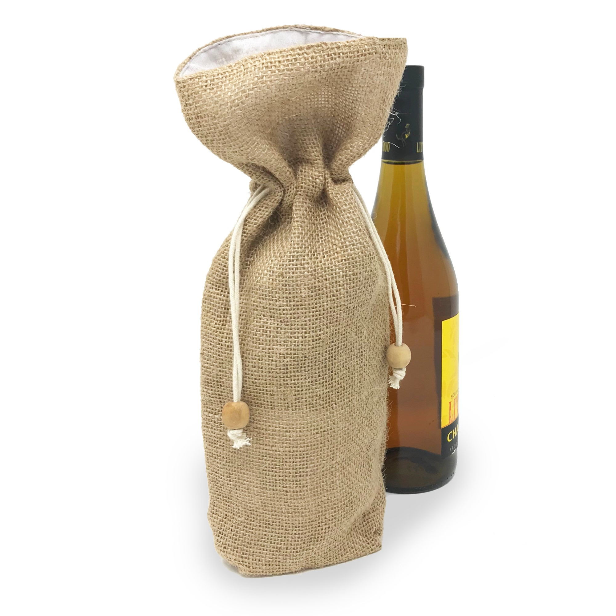 Jute Single Wine Drawstring Bag with Fabric Lining 5in