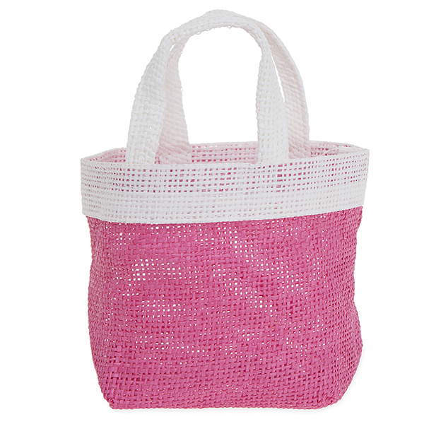 Mini Jute Round Colorblock Handle Basket 6in