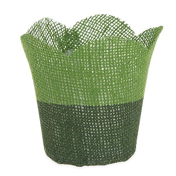 Jute Tulip Pot Holder Basket with Plastic Lining Small 4in