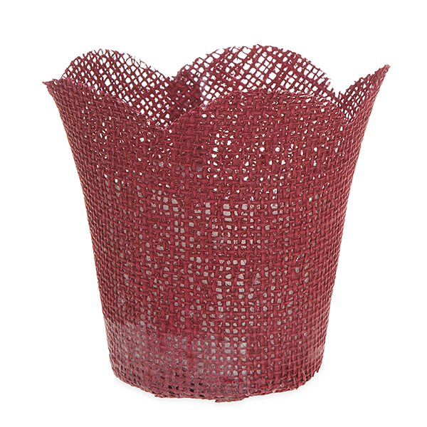 Jute Tulip Pot Holder Basket with Plastic Film Liner Small 4in