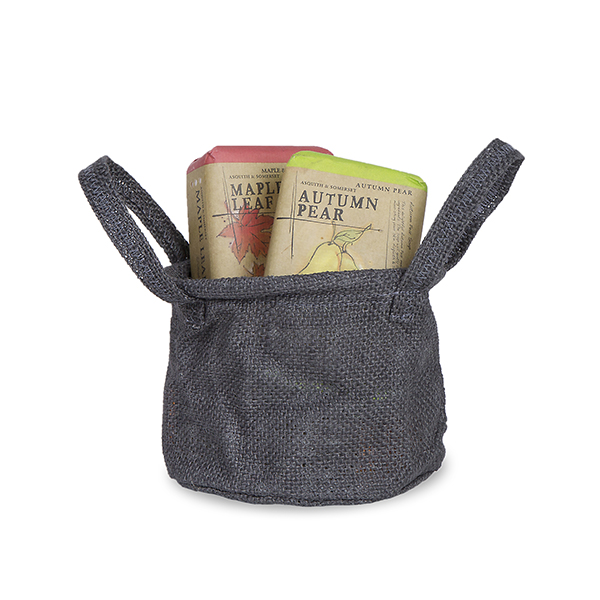 Jute Round Handle Bag Wire Top Rim - Gray 5in