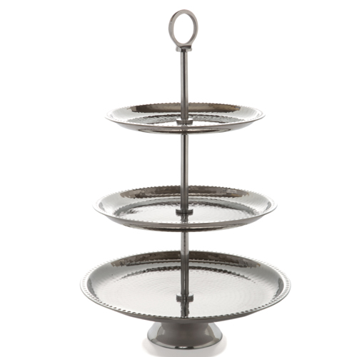 embossed three tier serving tray large the lucky clover trading co. Black Bedroom Furniture Sets. Home Design Ideas