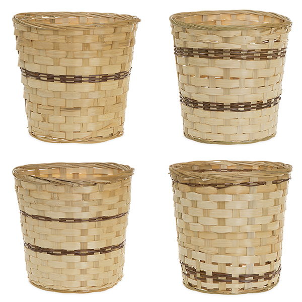 Fern Bamboo 9in Dia Lined Pot - Assorted