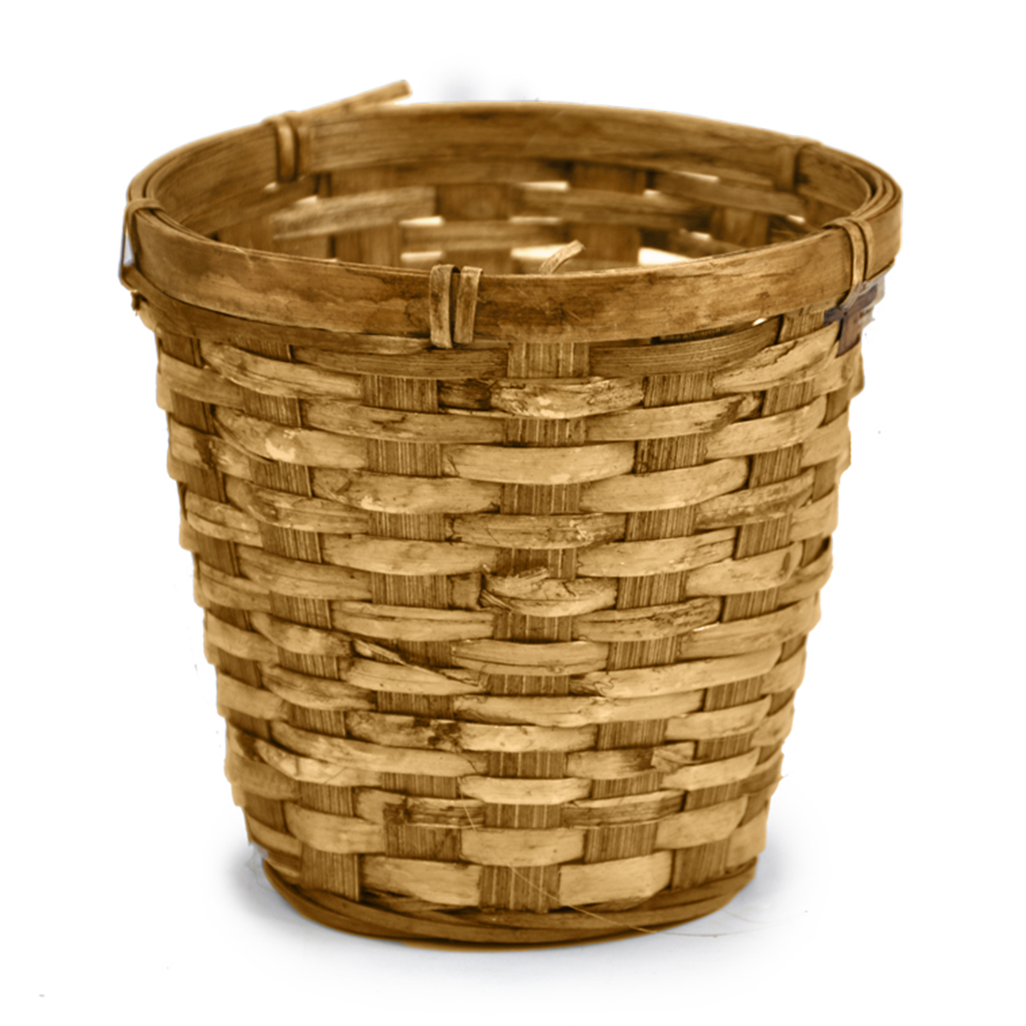 Round Bamboo Planter Basket - Brown 5in