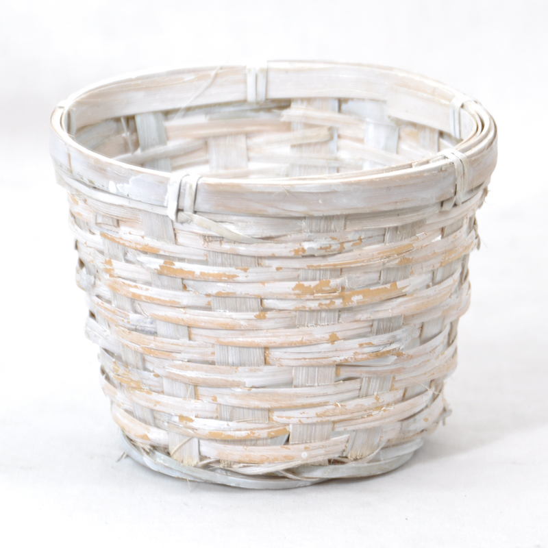 Mini Round White Wash Planter 5in