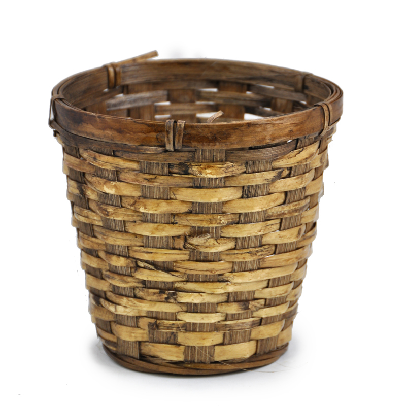 Brown Bamboo Stained 5in Diameter Planter Basket