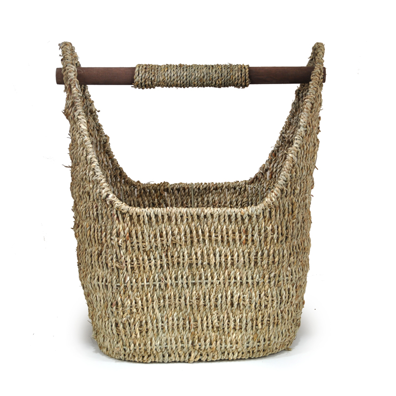Kalani Medium Sea Grass Utility Basket with Wood Handle 14in