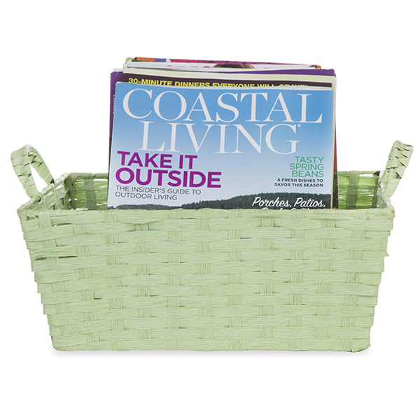 Rect Paper Fiber with Handle Basket Small - Sage Green 10in