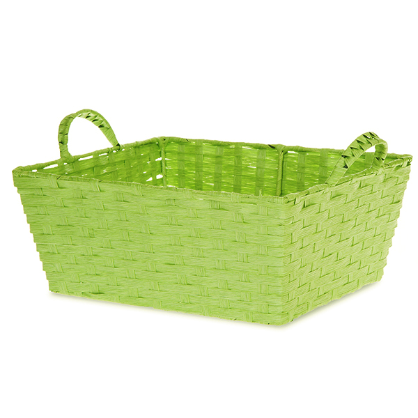 Rect Paper Fiber with Ear Handle Basket Med - Lime Green 12in