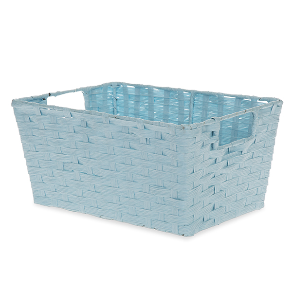 Rectangular Paper Fiber Storage In-Handle Small - Baby Blue 12in