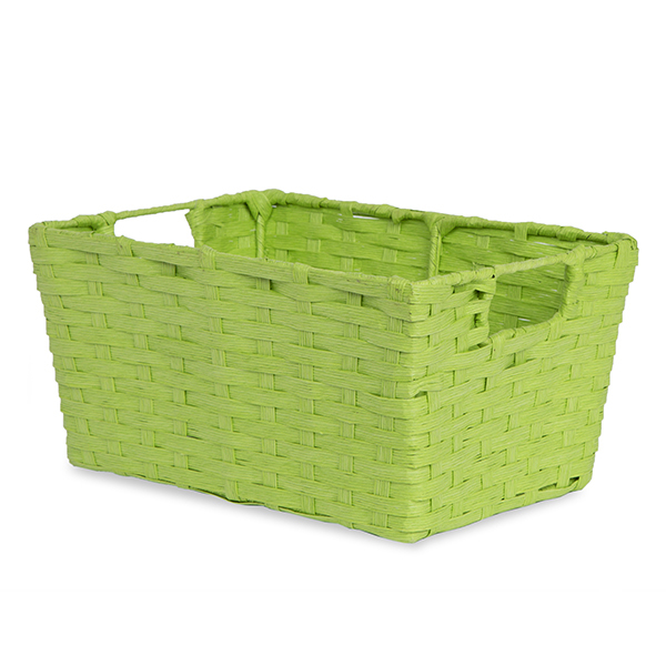 Small Rect Paper Fiber Storage In-Handle - Lime Green 12in