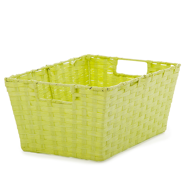Rect Paper Fiber Utility Basket w/In Handle Med- Neon Green 12in