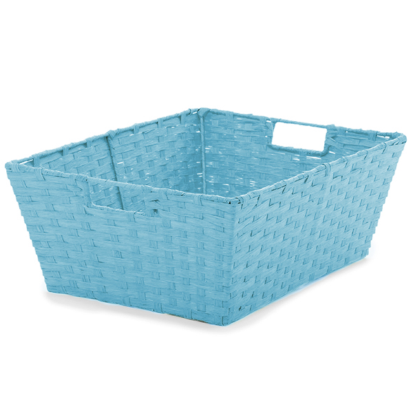 Large Rect Paper Fiber Storage In-Handle - Turquoise 16in