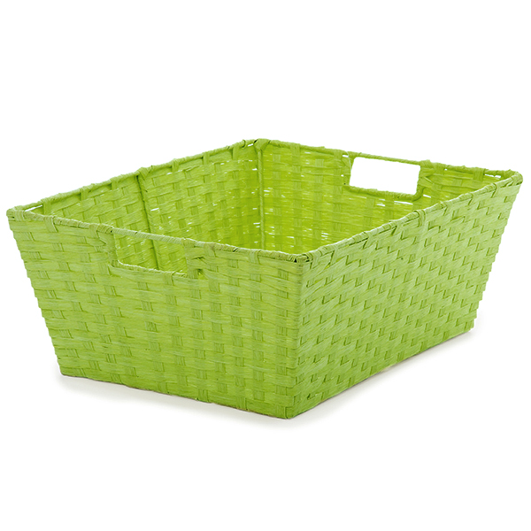 Large Rect Paper Fiber Storage In-Handle - Lime Green 14in