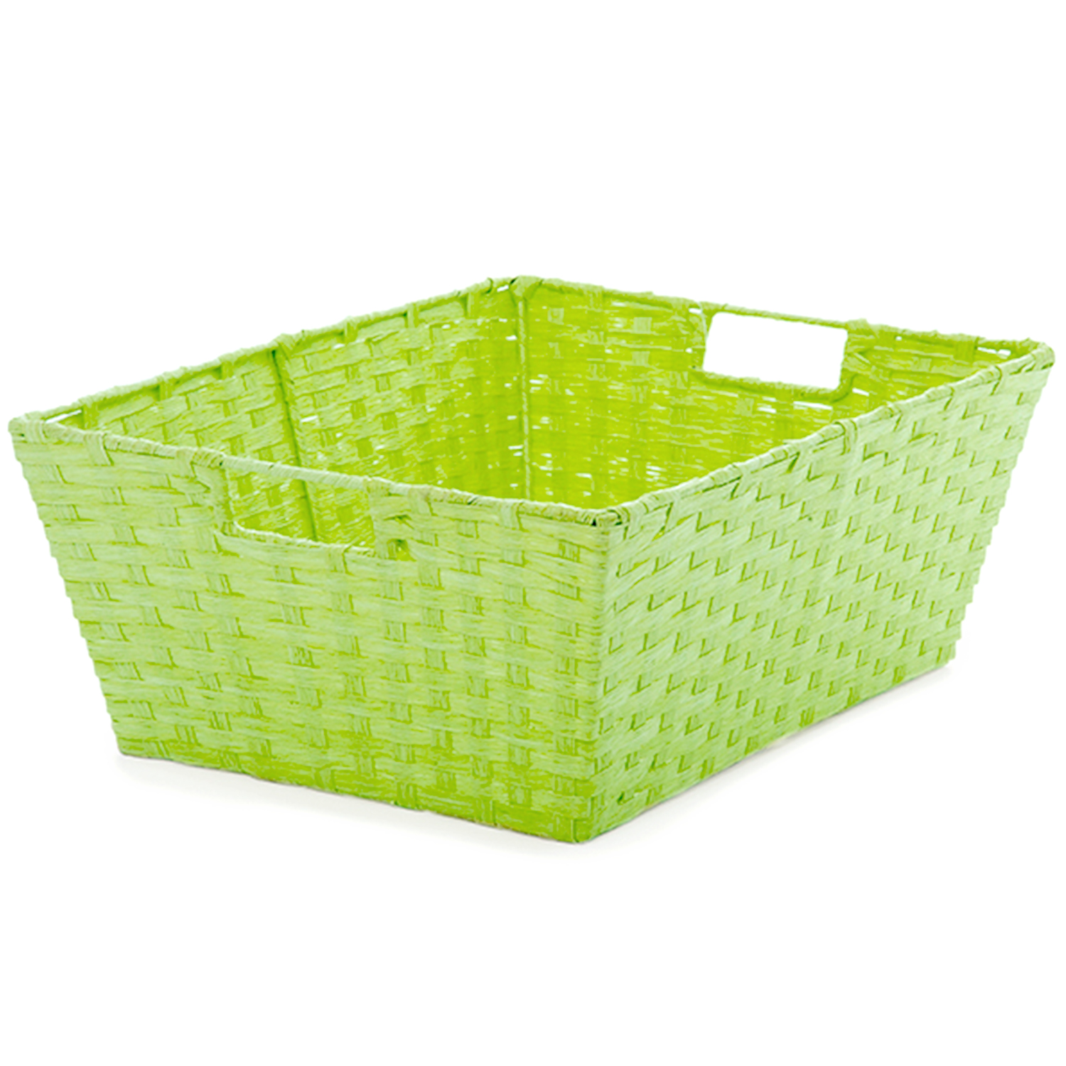 Large Rect Paper Fiber Storage In-Handle - Lime Green 16in