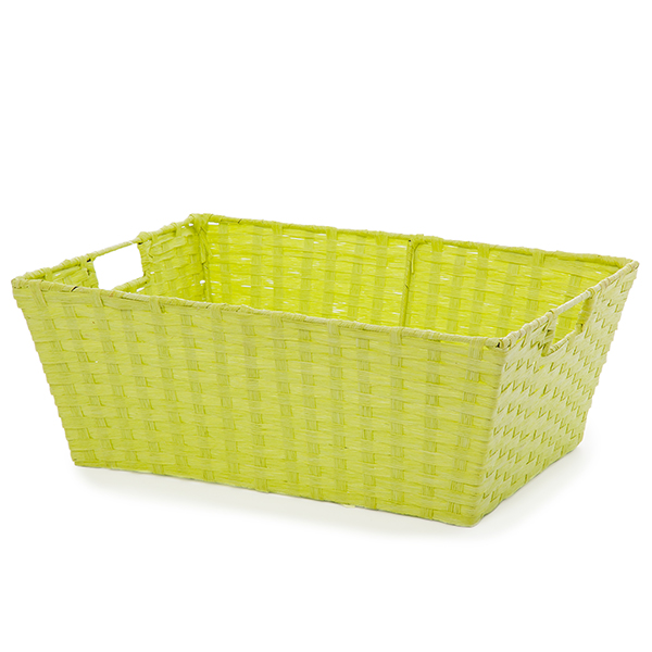 Paper Utility Basket with In Handle Large - Neon Green 16in