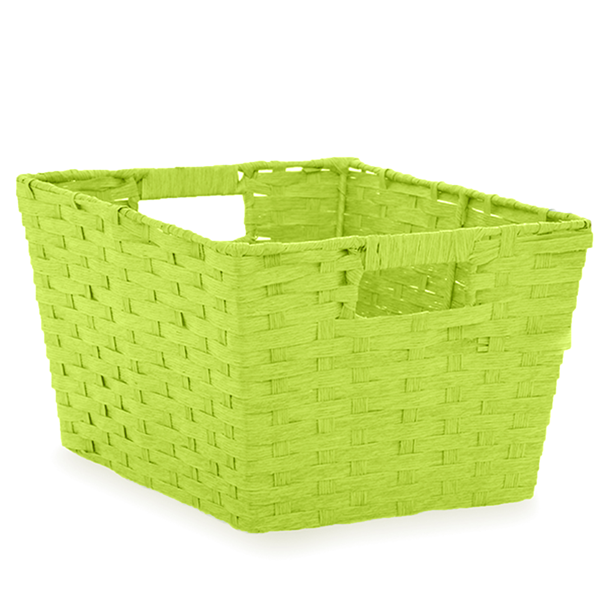 Rect Paper Fiber Storage In Handle Med - Lime Green 12in