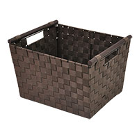 Sophia Simple Storage Basket with Wood Handle - Chocolate