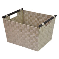 Sophia Simple Storage Basket with Wood Handle - Beige Ivory