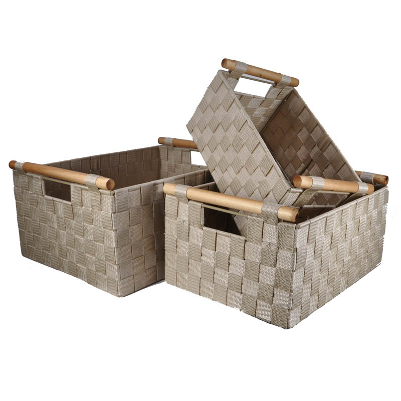 Sophia Nested Storage Baskets in Beige Ivory - Set of Three