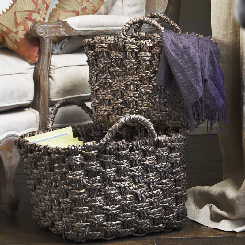 Del Mar Braided Mahogany Palm Utility Basket - Set of Two